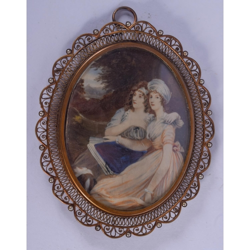 994 - AN EARLY 20TH CENTURY CONTINENTAL PAINTED IVORY PORTRAIT MINIATURE painted with two girls. Image 8 c...