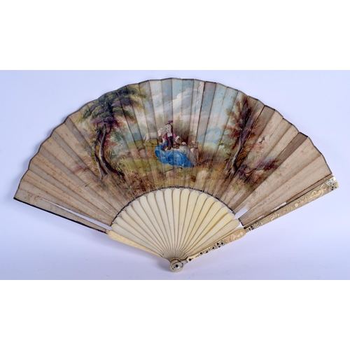 388 - A MID 18TH CENTURY FRENCH SILVER INLAID PAINTED WATERCOLOUR FAN with pique work supports. 46 cm wide...