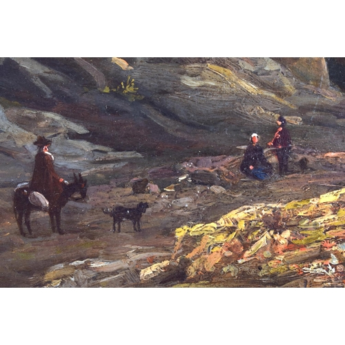 390 - European School (19th Century) Figures on donkeys within a landscape, Oil on board. Image 24 cm x 27...