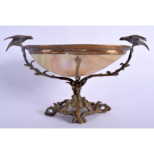 393 - A 19TH CENTURY FRENCH PALAIS ROYALE MOTHER OF PEARL TWIN HANDLED BOWL overlaid with birds. 24 cm x 1...