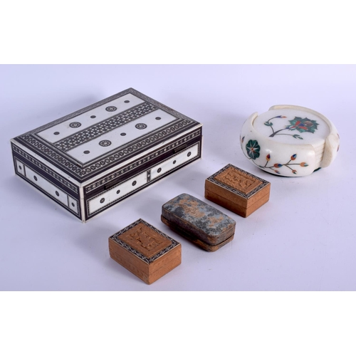 410 - A 19TH CENTURY ANGLO INDIAN CARVED IVORY BOX together with an Indian marble coaster set. Largest 17 ...