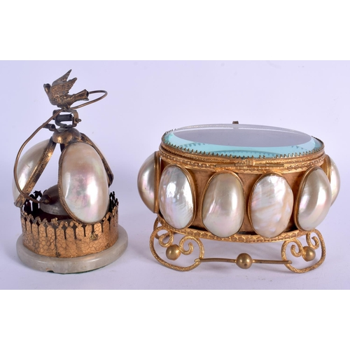 411 - A 19TH CENTURY FRENCH PALAIS ROYALE MOTHER OF PEARL BOX together with matching bell. Largest 15 cm w...