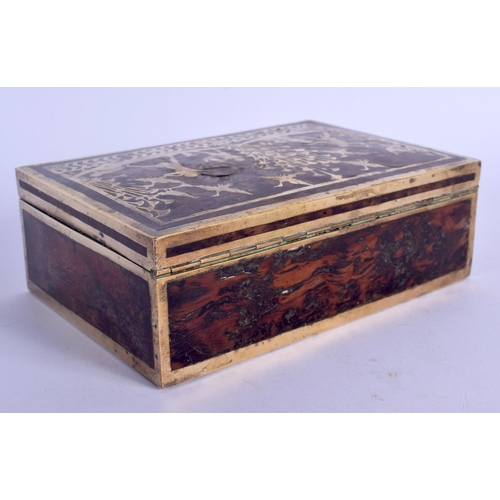 413 - AN ART DECO BRASS INLAID CARVED WOODEN BOX decorated with figures within landscapes. 15 cm x 10 cm....