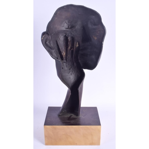 421 - A CONTEMPORARY BRONZE SCULPTURE OF A FEMALE. 40 cm x 15 cm....