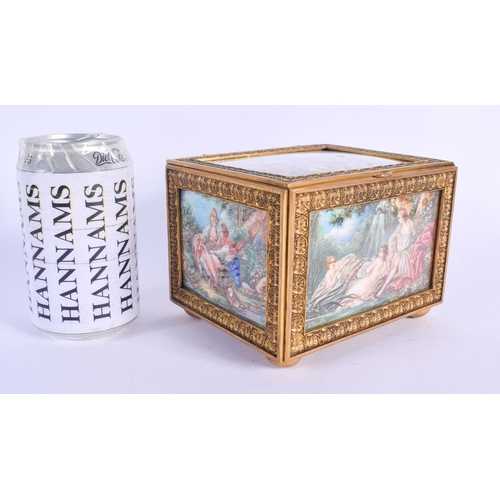 430 - A FINE 19TH CENTURY EUROPEAN PAINTED IVORY CASKET painted with scenes of lovers and landscapes. 14 c...
