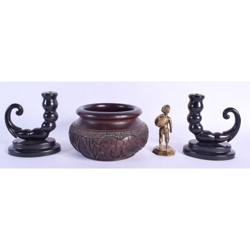 433 - A RARE PAIR OF ART DECO BAKELITE CANDLESTICKS together with a wooden bowl etc. (4)...