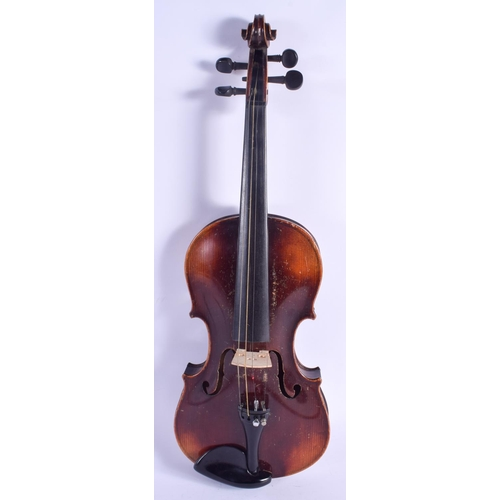 469 - A TWO PIECE BACK STAINER VIOLIN with Tourte bow. 57 cm long. (2)...
