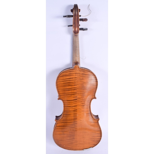 475 - A TWO PIECE BACK VIOLIN with bow. 57 cm long. (2)...