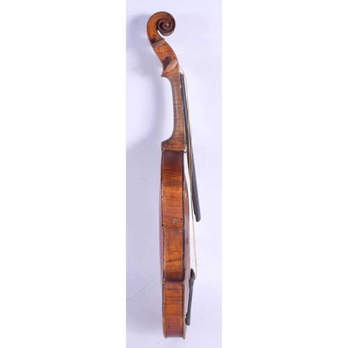 476 - A TWO PIECE BACK VIOLIN bearing label to interior John Young Aberdeen. 57 cm long. (2)...