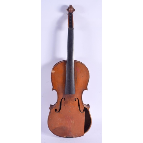 477 - A TWO PIECE BACK VIOLIN. 57 cm long....