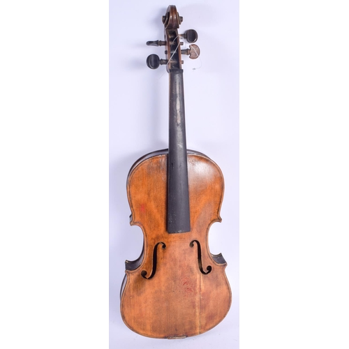 482 - A TWO PIECE BACK VIOLIN. 57 cm long....