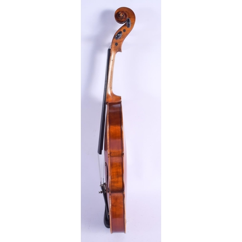 483 - A TWO PIECE BACK VIOLIN with two bows. 58 cm long. (3)...