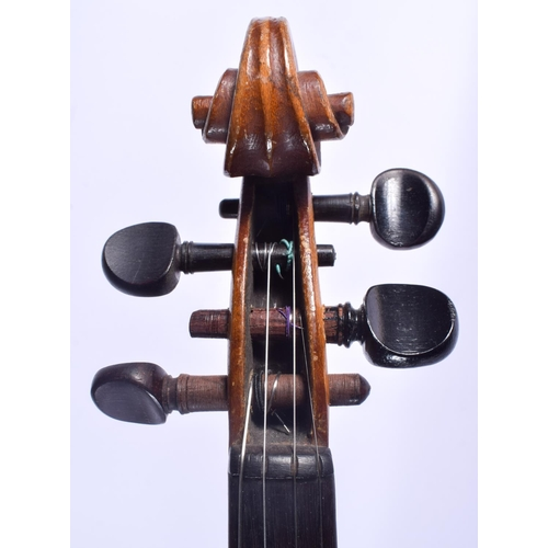 484 - A TWO PIECE BACK VIOLIN with bow. 58 cm long. (2)...