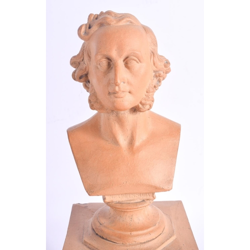 485 - A 19TH CENTURY ENGLISH STONEWARE BUST OF A MALE together with a Georgian bronze medallion etc. Large...