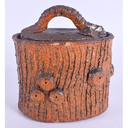 487 - A VERY RARE 19TH ENGLISH POTTERY STONEWARE JAR AND COVER of tree trunk form. 12 cm x 9 cm....