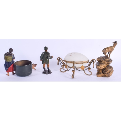 492 - AN EDWARDIAN OPALINE GLASS BOX together with a bronze figure etc. (4)...