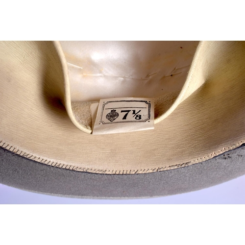 622 - A VINTAGE GREY TOP HAT etc. (3)...