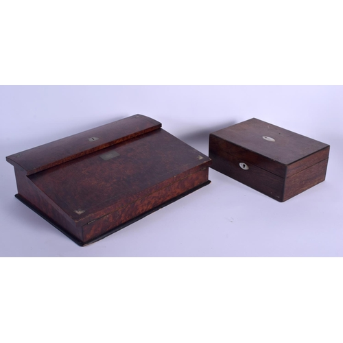 623 - TWO ANTIQUE WRITING BOXES. Largest 41 cm wide. (2)...