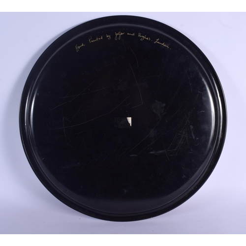 638 - A LONDON DECORATED PAINTED TOLEWARE TRAY. 47 cm diameter....