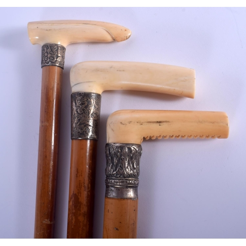 641 - THREE 19TH CENTURY INDIAN CARVED IVORY CANES. 88 cm long. (3)...
