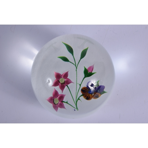 14 - A CAITHNESS WHITEFRIARS OPALINE GLASS PAPERWEIGHT together with a pair of flower vases. Largest 16.5...