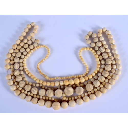 750 - THREE CONTINENTAL ANTIQUE IVORY NECKLACES. (3)...