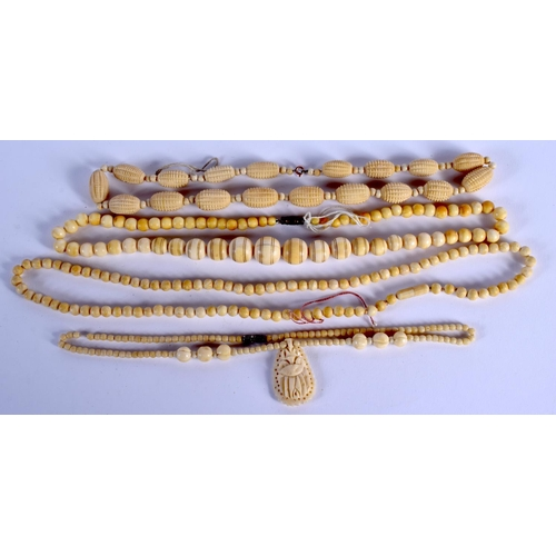 758 - THREE CONTINENTAL ANTIQUE IVORY NECKLACES. (3)...