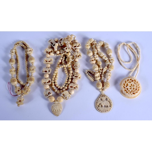 759 - THREE CONTINENTAL ANTIQUE IVORY NECKLACES. (3)...