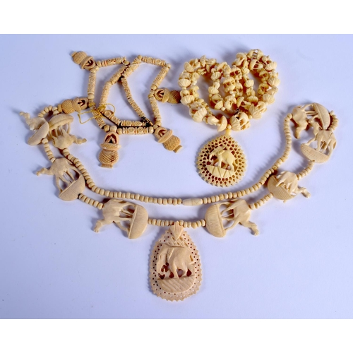 761 - THREE CONTINENTAL ANTIQUE IVORY NECKLACES. (3)...