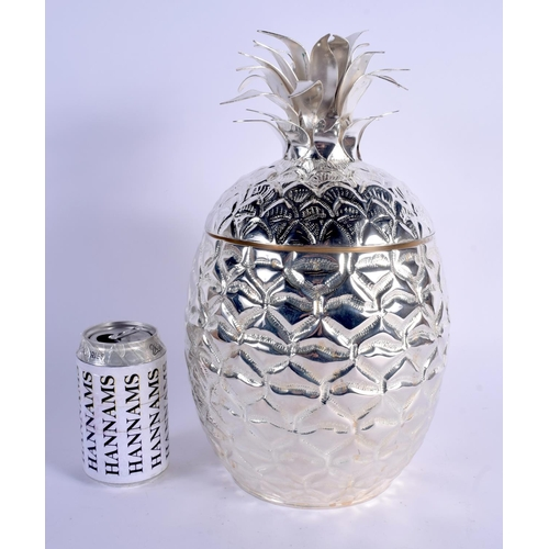 798 - A CONTINENTAL SILVER PLATED PINEAPPLE ICE COOLER AND COVER. 33 cm x 18 cm....