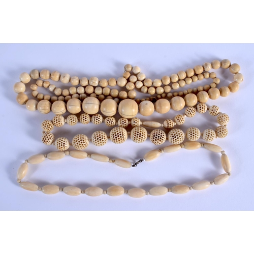 751 - THREE CONTINENTAL ANTIQUE IVORY NECKLACES. (3)...