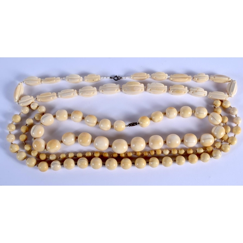 752 - THREE CONTINENTAL ANTIQUE IVORY NECKLACES. (3)...
