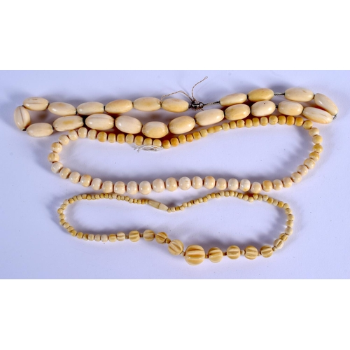 755 - THREE CONTINENTAL ANTIQUE IVORY NECKLACES. (3)...