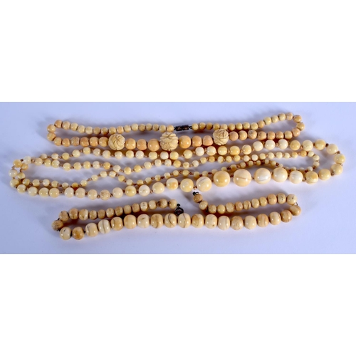 757 - THREE CONTINENTAL ANTIQUE IVORY NECKLACES. (3)...