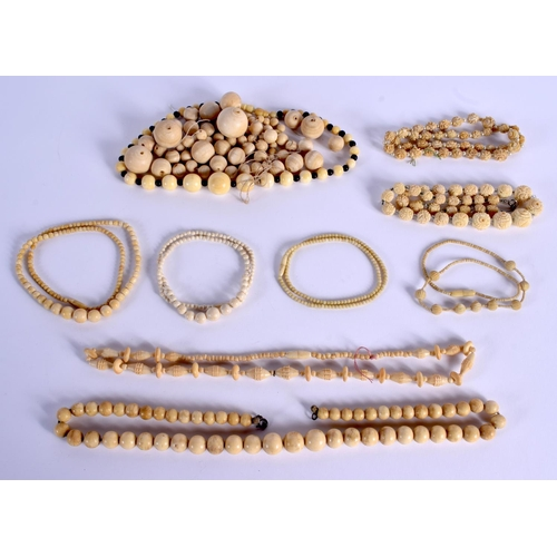 764 - ASSORTED CONTINENTAL ANTIQUE IVORY JEWELLERY. (qty)...
