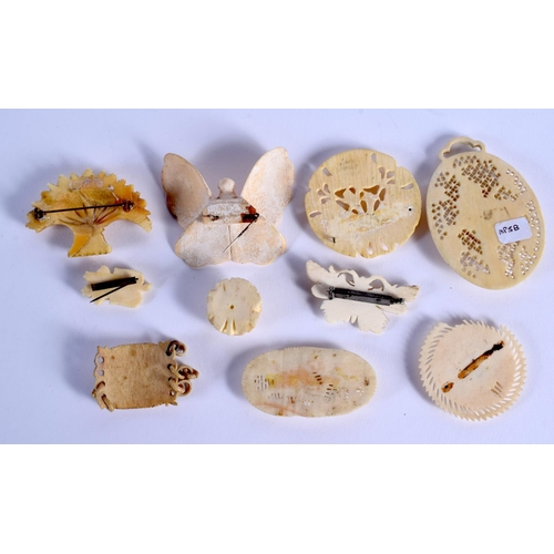 769 - ASSORTED CONTINENTAL ANTIQUE IVORY JEWELLERY. (qty)...