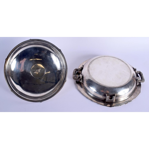787 - A RARE LARGE ANTIQUE SILVER PLATED TWIN HANDLED SERVING BOWL AND COVER with stag finial. 30 cm wide....
