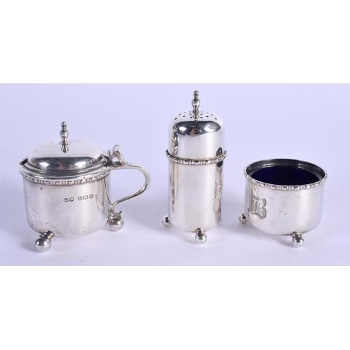 790 - AN ART DECO SILVER CRUET SET. Birmingham 1921. Silver 68 grams. (3)...