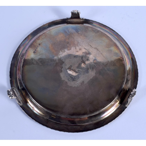 804 - AN ANTIQUE SILVER SALVER. 318 grams. 19 cm diameter....