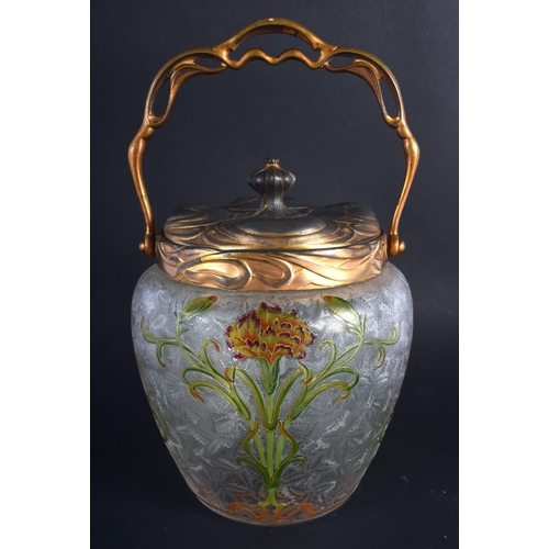 14 - A FINE FRENCH ART NOUVEAU ENAMELLED FROSTED GLASS BISCUIT BARREL possibly by Legras, painted with st...