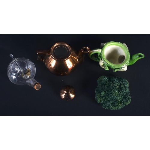 18 - AN EXTREMELY RARE VICTORIAN MINIATURE GLASS TEAPOT possibly for oil, lozenge mark to base, together ...