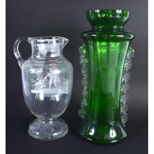 2 - AN ANTIQUE MARY GREGORY STYLE VASE together with another smaller. Largest 30 cm high. (2)
