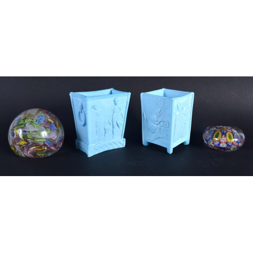 20 - TWO ANTIQUE SOWERBY STYLE BLUE GLASS VASES together with two glass paperweights. Largest 10 cm x 7 c...