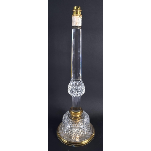 22 - A LARGE EARLY 20TH CENTURY BRASS MOUNTED CUT GLASS CRYSTAL LAMP with unusual adjustable section. 46 ...