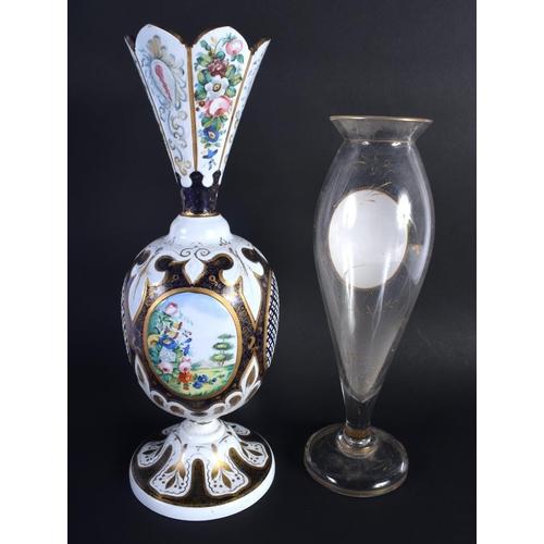 3 - AN ANTIQUE BOHEMIAN ENAMELLED GLASS VASE together with a bohemian portrait vase. 32 cm high. (2)