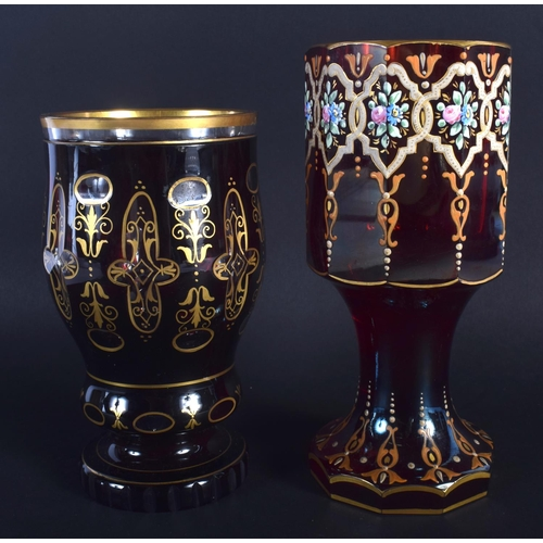 33 - TWO ANTIQUE BOHEMIAN GLASS CUPS. Largest 17.5 cm high. (2)