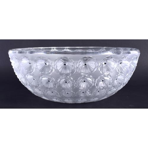 36 - A FRENCH RENE LALIQUE NEMOURS GLASS BOWL. 22 cm x 11 cm.