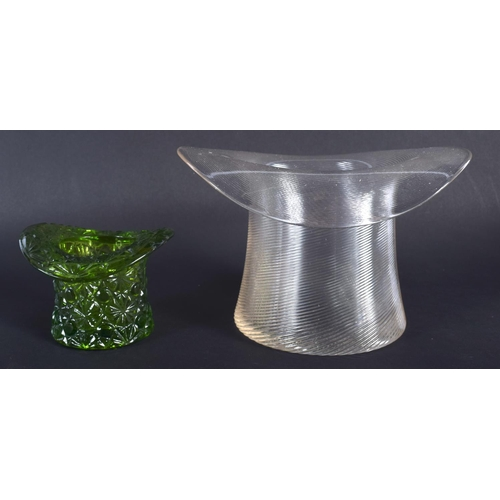 39 - TWO ANTIQUE GLASS UPTURNED TOP HATS. 12 cm x 12 cm.