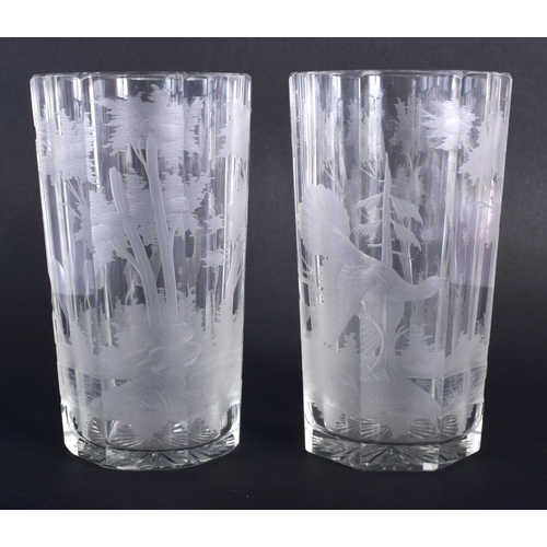 5 - A PAIR OF BOHEMIAN ENGRAVED GLASSES decorated with birds and landscapes. 15 cm high.