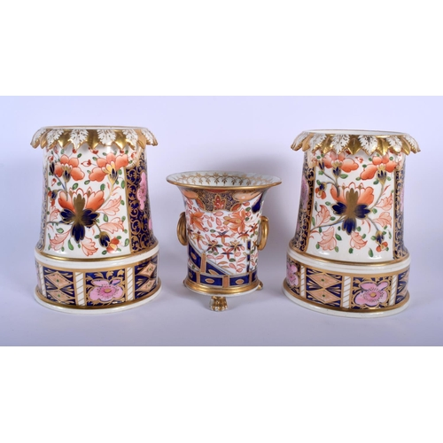 53 - A PAIR OF EARLY 19TH CENTURY DERBY IMARI PORCELAIN VASES together with a Derby twin handled vase. La...